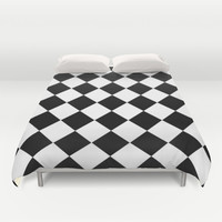 Diamond Black & White Duvet Cover by BeautifulHomes | Society6