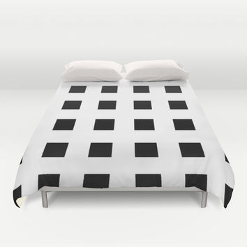 Cross Squares Black & White Duvet Cover by BeautifulHomes | Society6