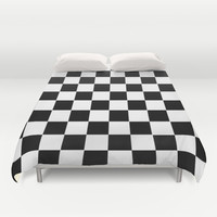 Checkers Square Black & White Duvet Cover by BeautifulHomes | Society6