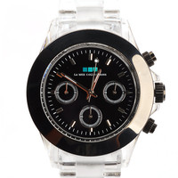 la mer - women's carpe diem clear banded watch (black bezel) - La Mer | 80's Purple