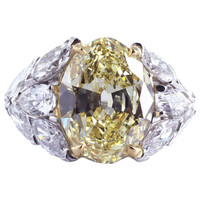 Magnificent Old European Cut Fancy Intense Yellow Diamond Ring - David & Company