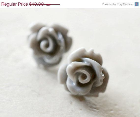 HALF OFF Gray Earrings Grey Roses Flowers Neutral by waterwaif