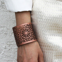 $50.00 Geometric Laser cut Copper & Gold Faux Leather Cuff by stylehybrid