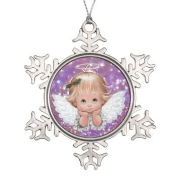 Christmas Angel on Snowflake Pewter Ornament