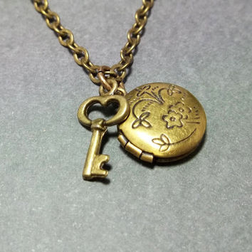 Sale...Antique Brass Locket Necklace Key Necklace Gift