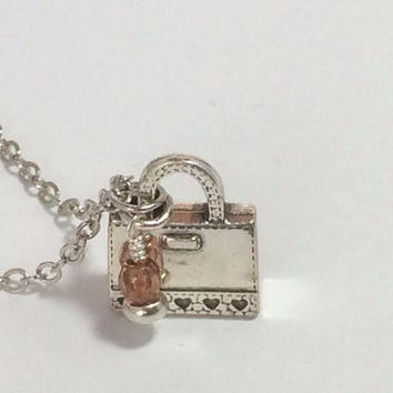 Purse Necklace Silver Purse Shopaholic Jewelry Charm Necklace Friendship Gift