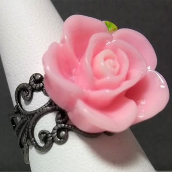Pink Flower Ring Adjustable Cabochon Rose Lovely Simple Antiqued Silver Gift Friendship Birthday