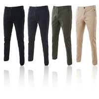Men's Classic Slim Fit Straight Leg Casual Pants Chinos by martEnvy