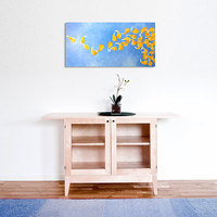 SUMMER BREEZE, 12x24 Acrylic Canvas, Home Decor Wall Art, Yellow and BlueFlower Petal Painting