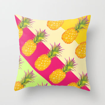 Tropical Pineapples Throw Pillow by Ornaart