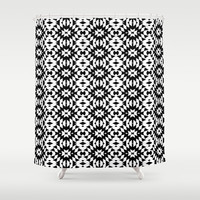 Black And White Mix Shower Curtain by Ornaart
