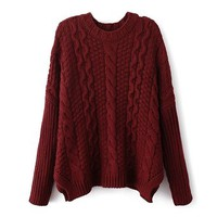 ZLYC Women's Classic Cable Knit Batwing Sleeves Pullover Sweater