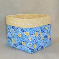 Beautiful Blue Yellow Floral Fabric Basket