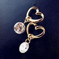 Golden Heart And Diamond Fashion Earrings