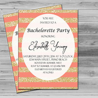 Coral Bachelorette Party Invites, Gold Glitter Invitation Printable, Bachelorette Invite JPEG Custom invitation