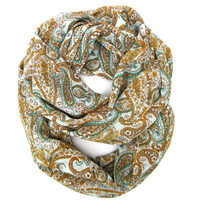 Paisley Circle Scarf Infinity Scarf Endless Loop Eternity Scarf Mustard Brown Light Blue Women Lightweight Scarf Women Gifts Ready to Ship