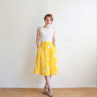 Vintage dress yellow and white rose pattern with by CaesarPony