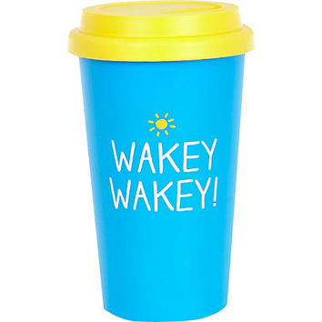 Blue wakey wakey travel mug