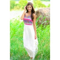 Party By The Poolside Maxi Dress-Ivory