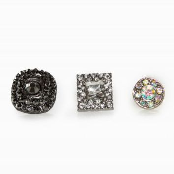 CIRCLE SQUARE EARRING TRIO