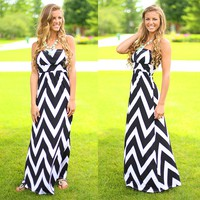 Chevron Chic Maxi Dress in Black