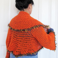 Shawl collar shrug, orange crochet sweater, summer outerwear, gift for her
