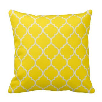 Freesia Yellow and White Lattice Pillow