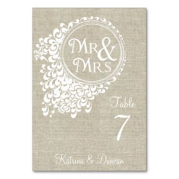 Mr & Mrs Vintage Linen Personalize Table Card
