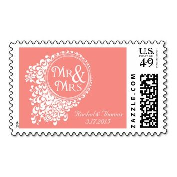 Mr & Mrs Vintage Coral Wedding Stamps