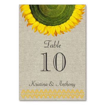 Italian Sunflower Linen Wedding Table Card