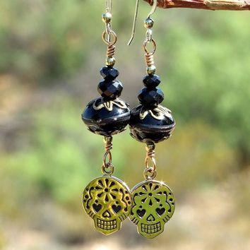 Sugar Skulls Handmade Earrings Lampwork Day of the Dead Jewelry Bronze