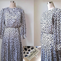 Vintage Susan Small Dress - Monochrome Black And White Day Dress - 1970's Midi Size 8