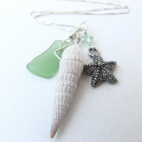 Sea Shell Necklace   Trio of Shell Sea Glass by BitsOffTheBeach