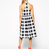 ASOS Midi Skater Dress in Gingham