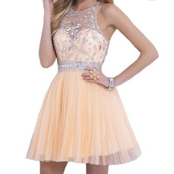 VILAVI Womenx27s A-line Round Brought Short Tulle Crystal