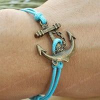 Braceletanchor charm bracelet with blue string anchor by mosnos