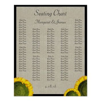 Italian Sunflower Vintage Linen Seating Chart