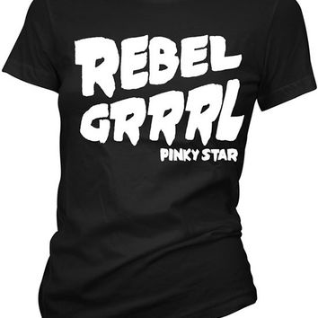 "Women's ""Rebel Grrrl"" Tee by Pinky Star (Black/White)"