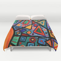 Abstract Sun Duvet Cover by gretzky