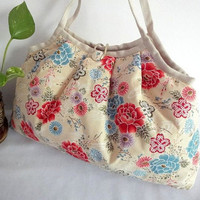 Japanese Kimono Pattern Granny bag purse flowers cream by MofLeema