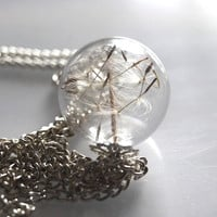 Dandelion Necklace Make A Wish 07 Glass by NaturalPrettyThings
