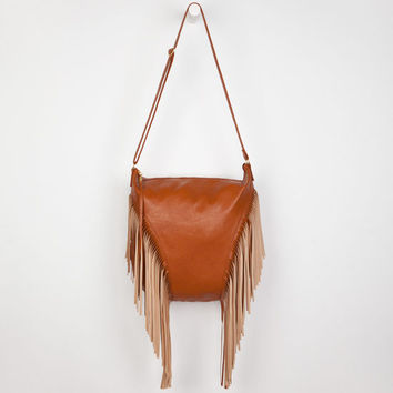 Deb & Dave Faux Leather Fringe Handbag Cognac One Size For Women 23770540901