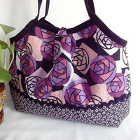 Japanese Kimono Pattern Granny bag purse purple roses by MofLeema