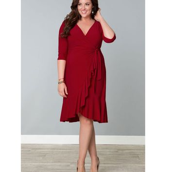 Plus Size Red Whimsy Wrap Dress - Plus Size - Clothing