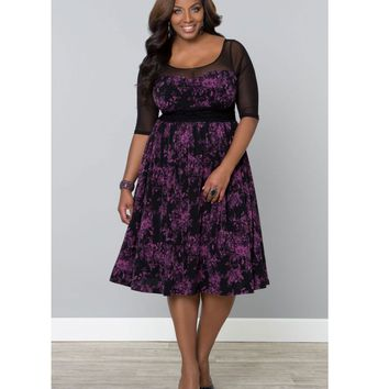 Plus Size Berry Bloom Twirl & Swirl Swing Dress - Plus Size - Clothing