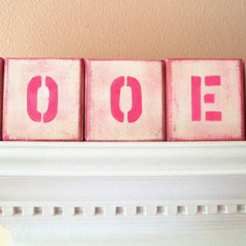 Block Letters - Name Wood Letter Blocks - Baby Girl Nursery Decor - Custom Wooden Alphabet - Personalized - Teen Girls Room