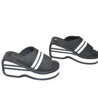 size 7 chunky foam plafrom wedge sandals /CLUB KID black and white striped mules platforms
