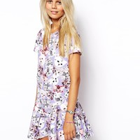 ASOS Shift Dress in Scuba in Cat Print with Peplem Hem