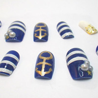 3D Acrylic Nails Nautical Sailor Ocean Stripes Beach by NailKandy