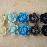 10PCS - Mini Lotus Flower Cabochons - Resin - 9mm - Blues, Ivory, Brown And Black - Cabochons By ZAR | Luulla
